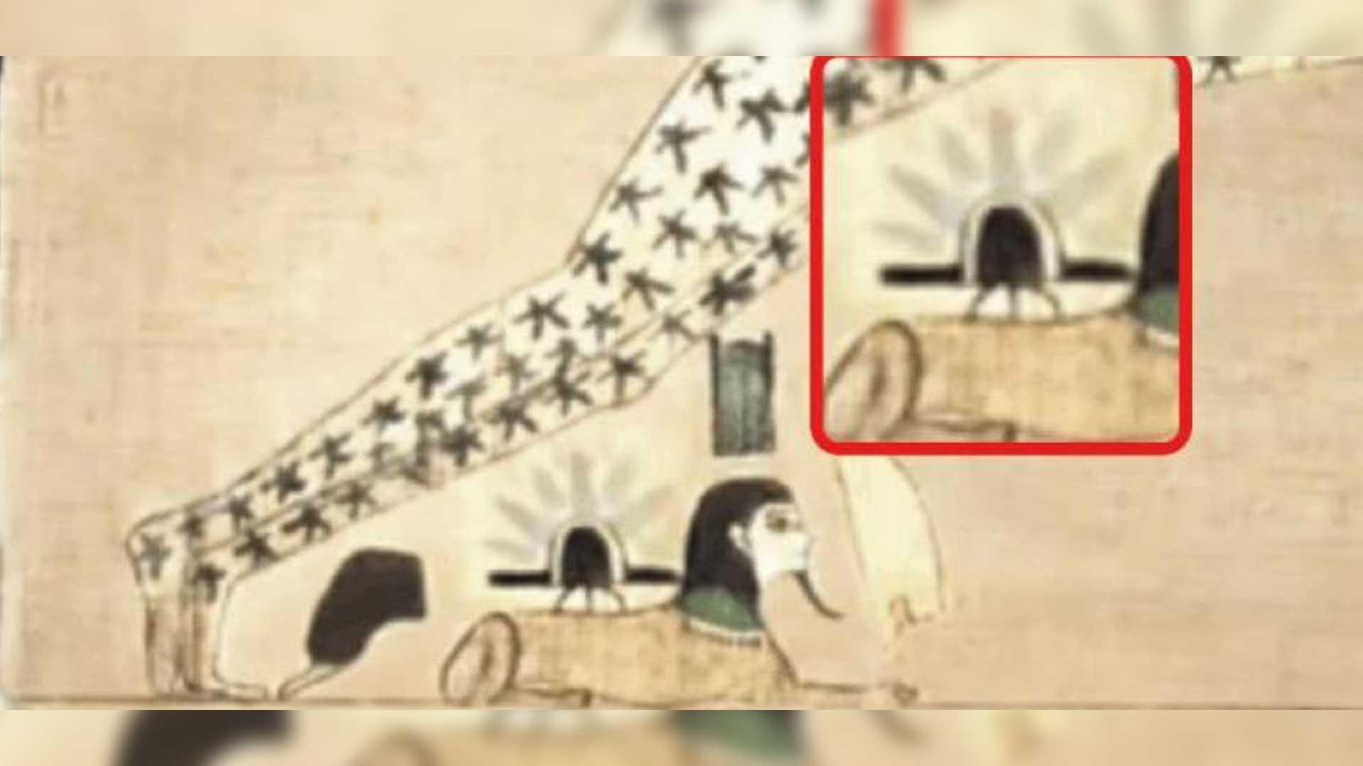 Antiguo papiro egipcio representa el aterrizaje de un OVNI en la esfinge