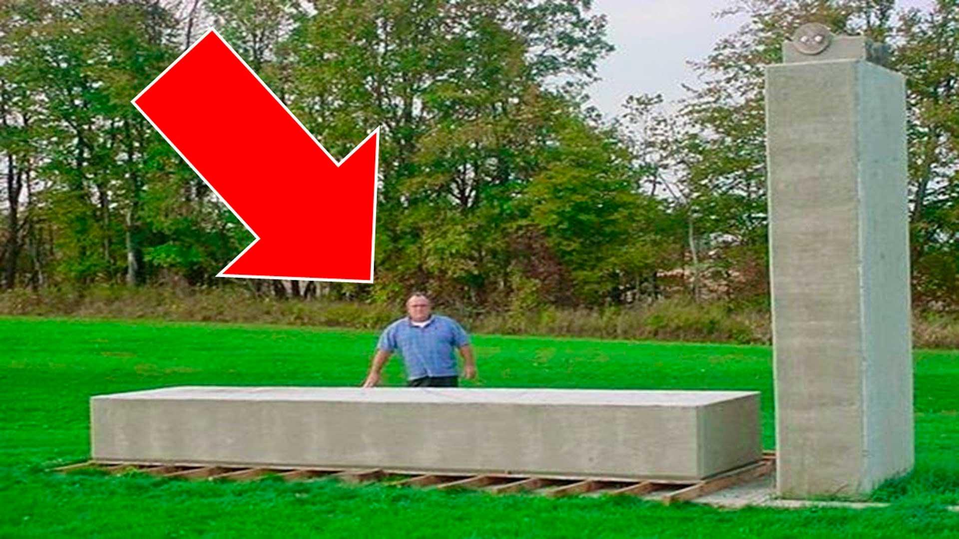 Increíble tecnología olvidada, este hombre levanta un bloque de 20 toneladas con una sola mano
