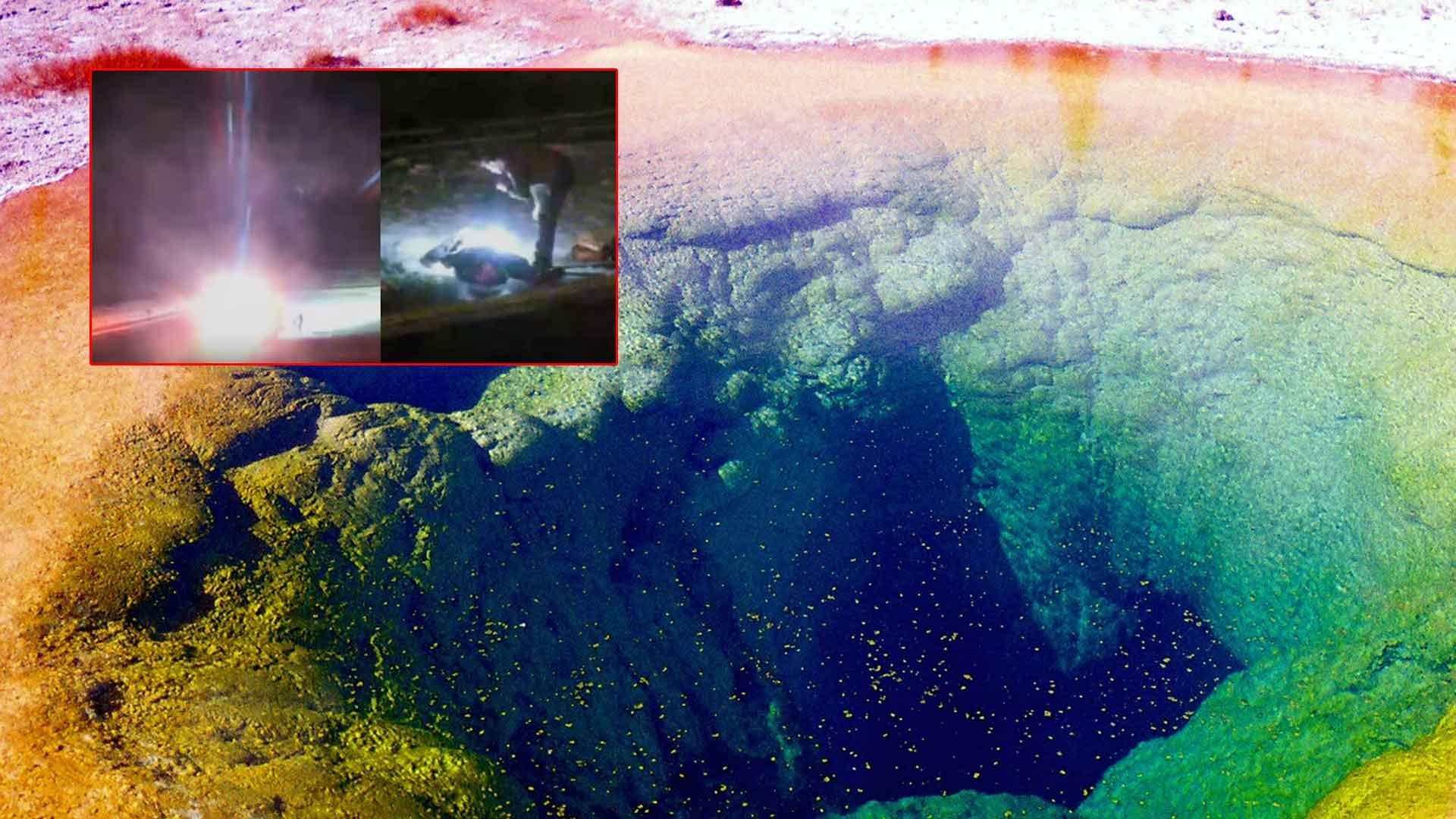 Esfera brillante explota en Yellowstone llevándose a una persona por delante