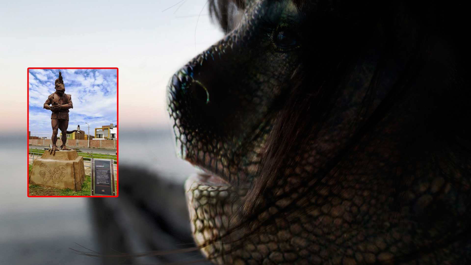 La estatua de un reptiliano erigida en Perú