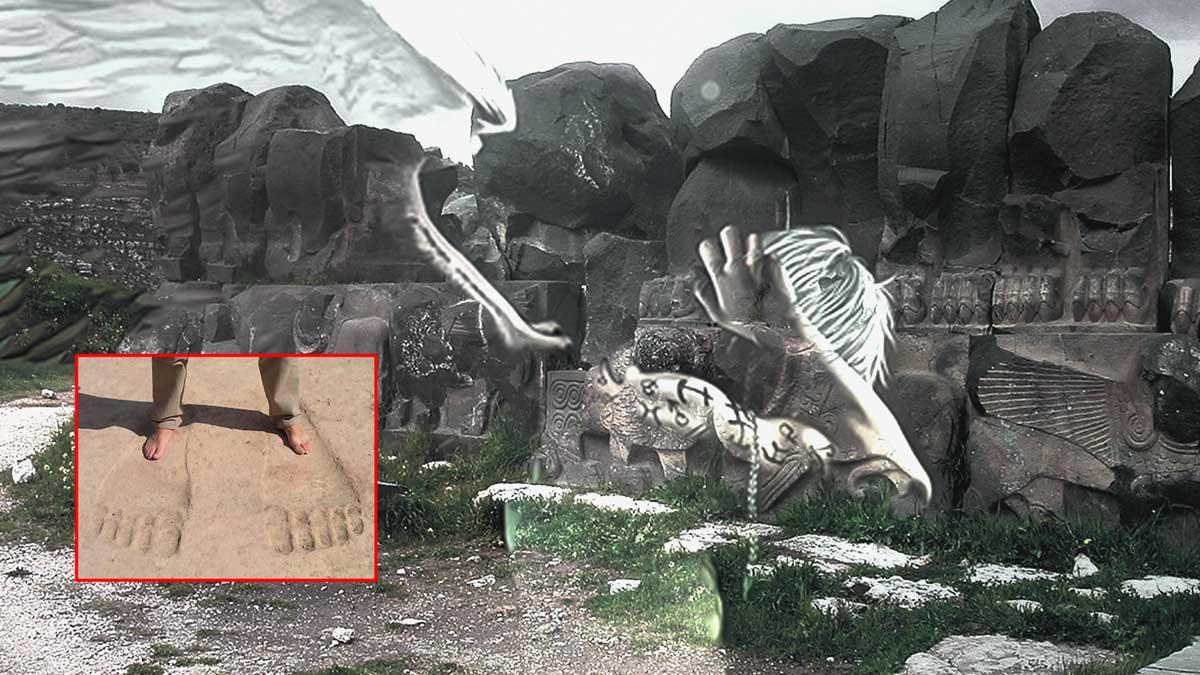 ¿Dioses o Gigantes? Enormes huellas descubiertas en templo de Siria