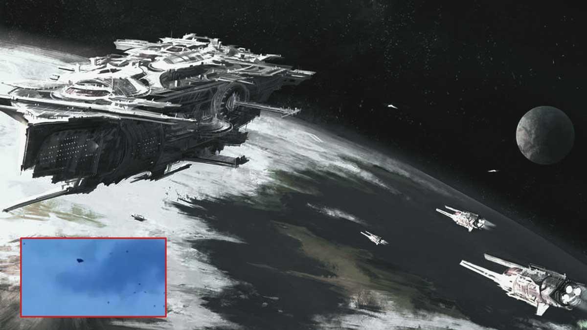 Flota de OVNIs escoltando una nave nodriza sobre La Haya. Posible explicación