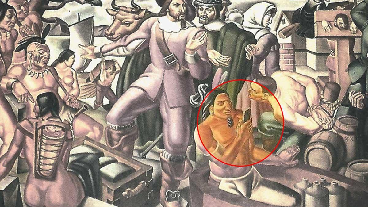 Pintura de la década de los 30 muestra a un nativo americano sosteniendo un smartphone ¿coincidencia o premonición?
