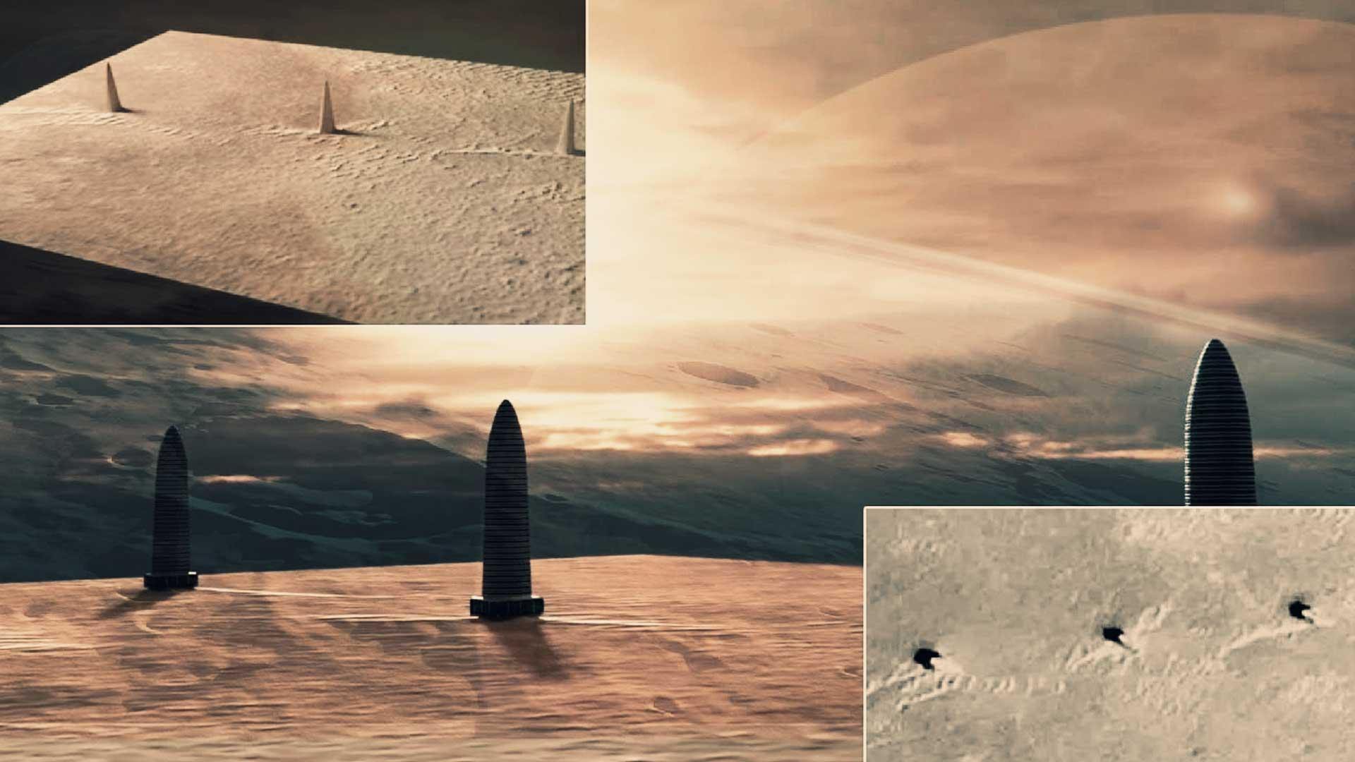 Extraño descubrimiento en Marte: hallan 3 enormes torres y parecen artificiales