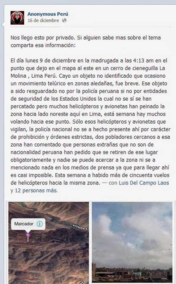 Imágenes de un OVNI caído en Perú filtradas por Anonymous