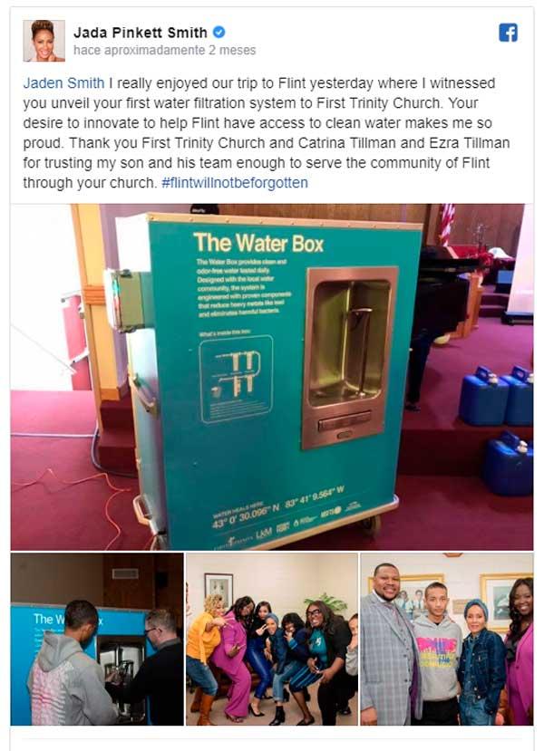 Jaden Smith crea sistema de filtración para llevar agua limpia a su comunidad arruinada por el plomo