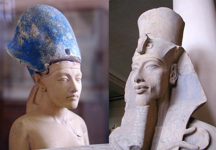 Retratos de Akhenaton en su juventud y apogeo.