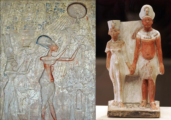 Escenas de oración. Akhenaton y Nefertiti.