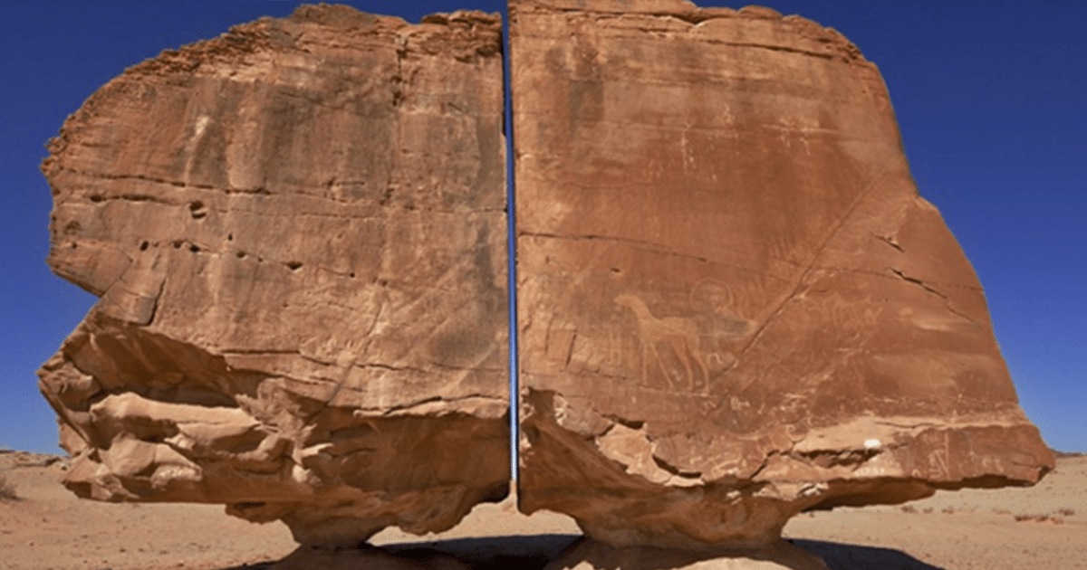 Una extraña piedra antigua fue descubierta en Arabia Saudita que había sido cortada por la mitad con precisión láser (video)
