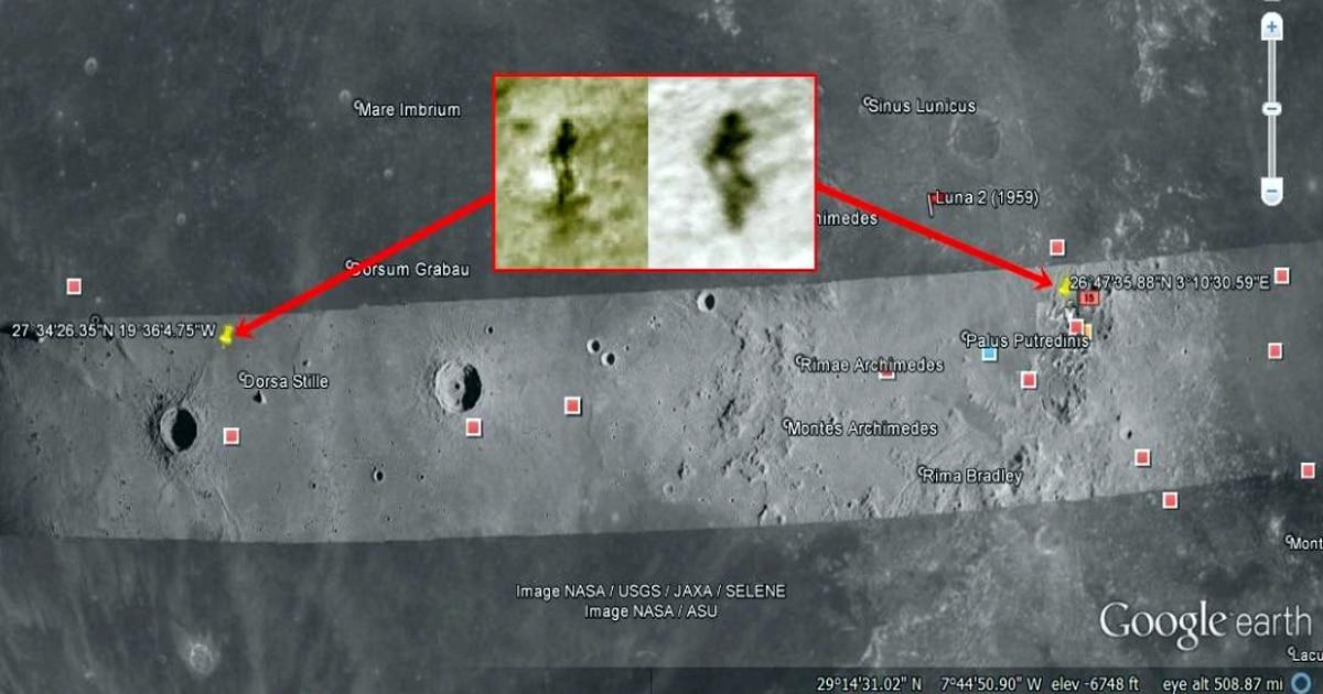 La misma figura humanoide alienígena de la luna fue vista nuevamente a 600 mm de su primera posición.